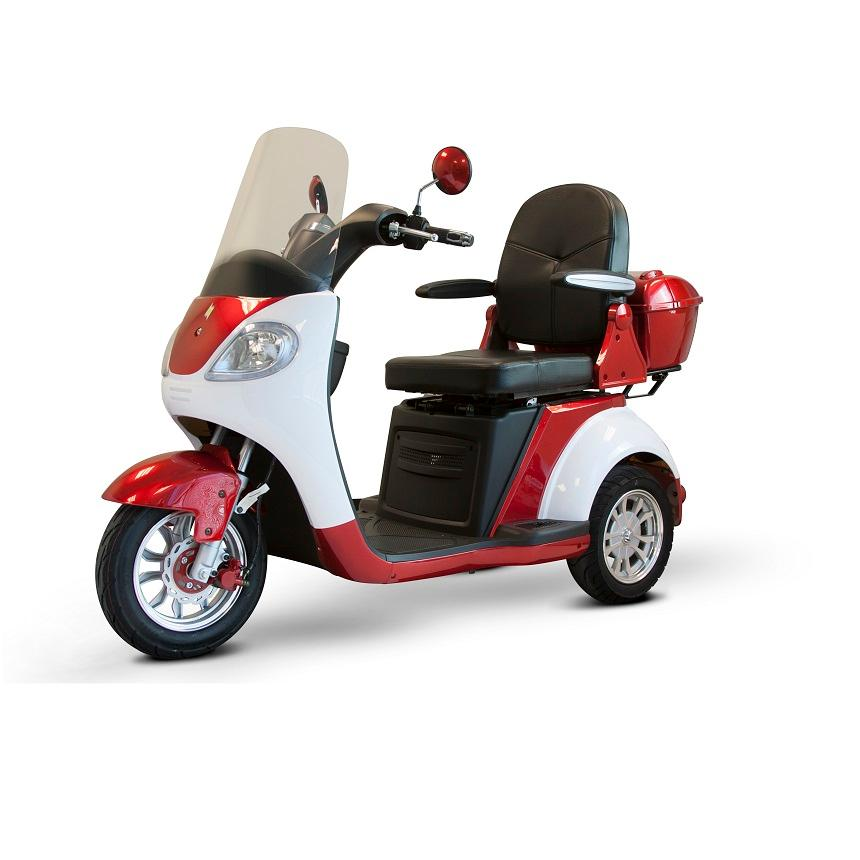 EWheels EW 42 3-Wheel Retro-Style Recreational Scooter with windshield red and white left angle view