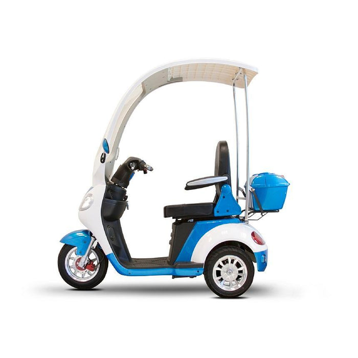 EWheels EW 44 3-Wheel Recreational Scooter with Canopy blue left side view