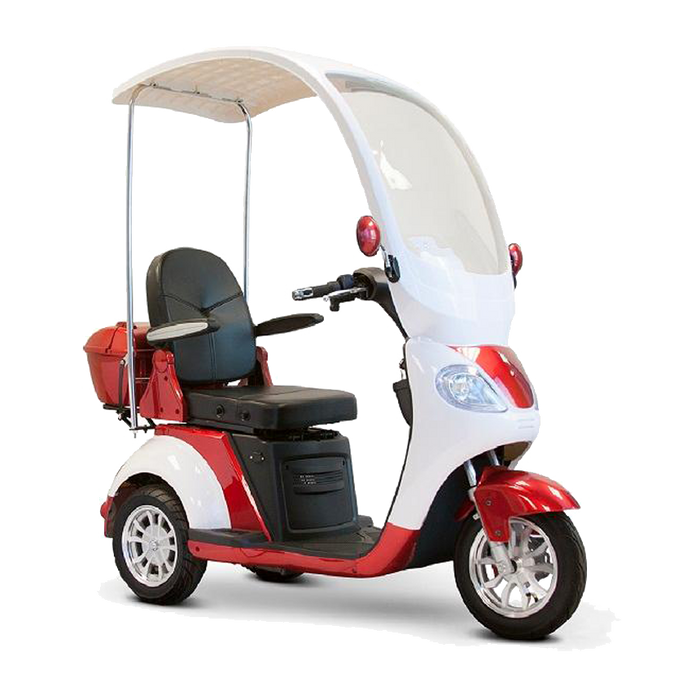 EWheels EW 44 3-Wheel Recreational Scooter with Canopy red right angle view