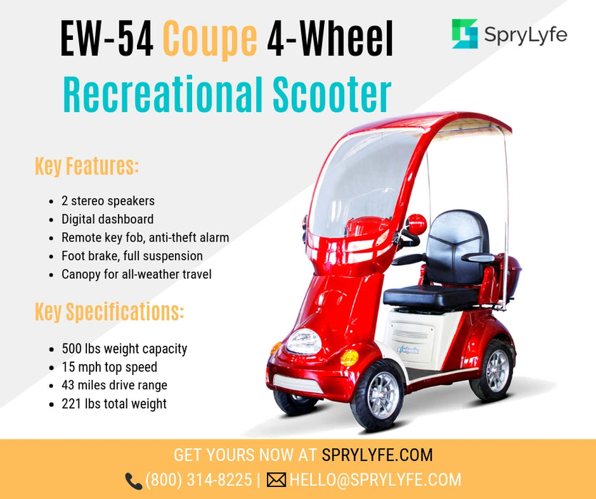 EWheels EW 54 Coupe 4-Wheel Recreational Scooter with Canopy brochure