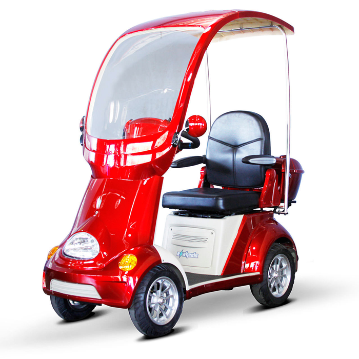 EWheels EW 54 Coupe 4-Wheel Recreational Scooter with Canopy red left angle view