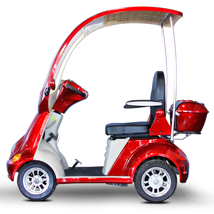 EWheels EW 54 Coupe 4-Wheel Recreational Scooter with Canopy red left side view