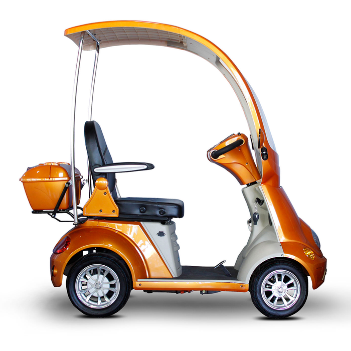 EWheels EW 54 Coupe 4-Wheel Recreational Scooter with Canopy orange right side view