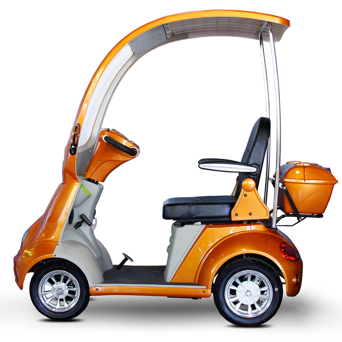 EWheels EW 54 Coupe 4-Wheel Recreational Scooter with Canopy orange left side view