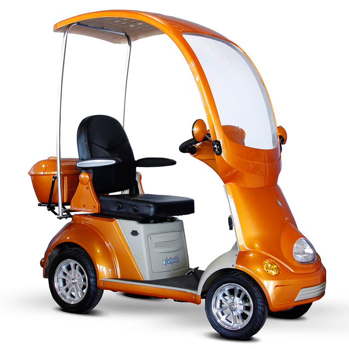 EWheels EW 54 Coupe 4-Wheel Recreational Scooter with Canopy orange right angle view