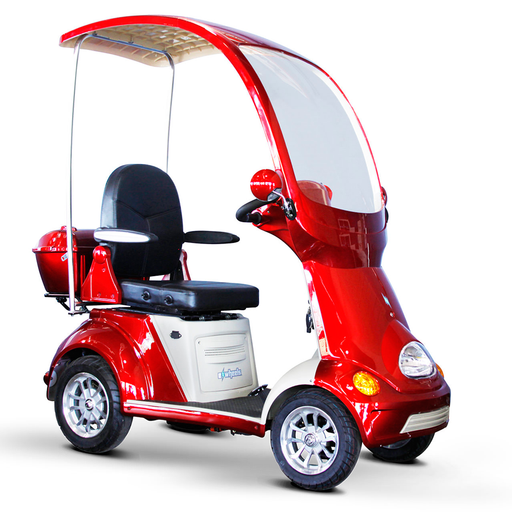 EWheels EW 54 Coupe 4-Wheel Recreational Scooter with Canopy red right angle view