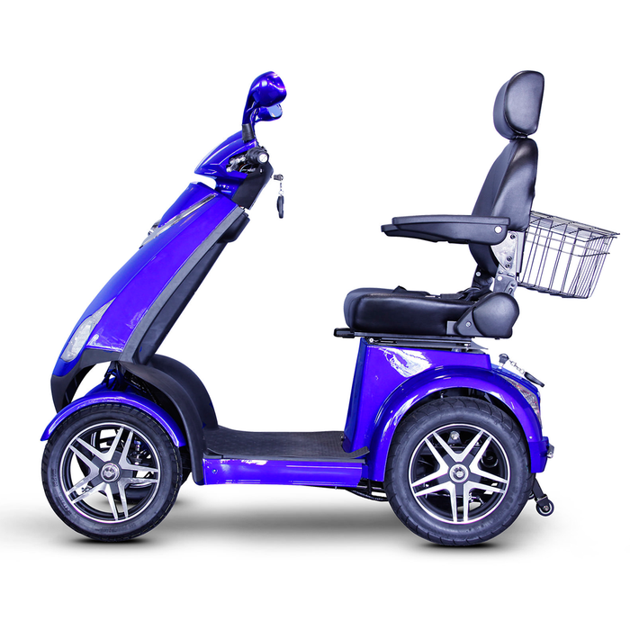 EWheels EW 72 4-wheel recreational scooter blue left side view