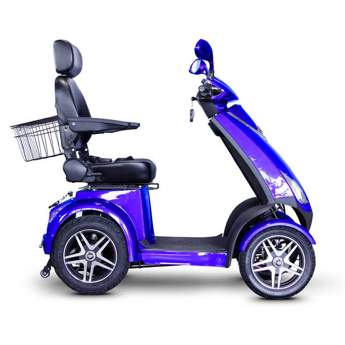 EWheels EW 72 4-wheel recreational scooter blue right side view