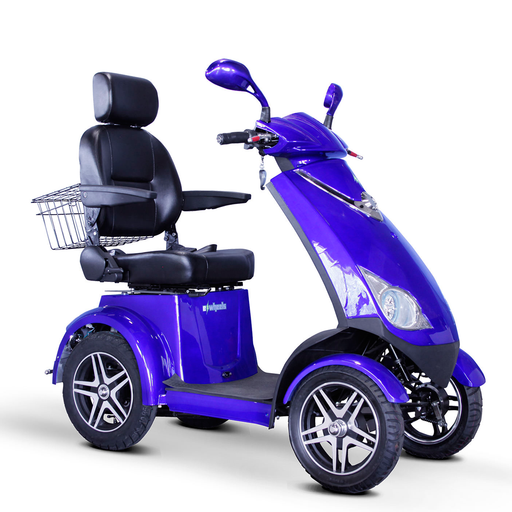 EWheels EW 72 4-wheel recreational scooter blue right angle view
