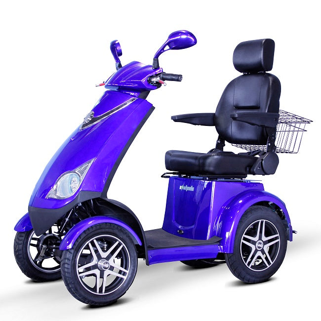 EWheels EW 72 4-wheel recreational scooter blue left angle view