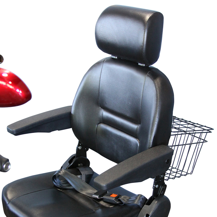 EWheels EW 72 4-wheel recreational scooter captain seat with backrest, headrest, and armrests