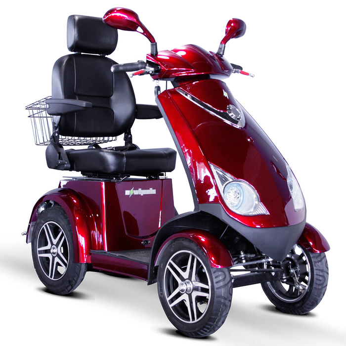 EWheels EW 72 4-wheel recreational scooter red right angle view