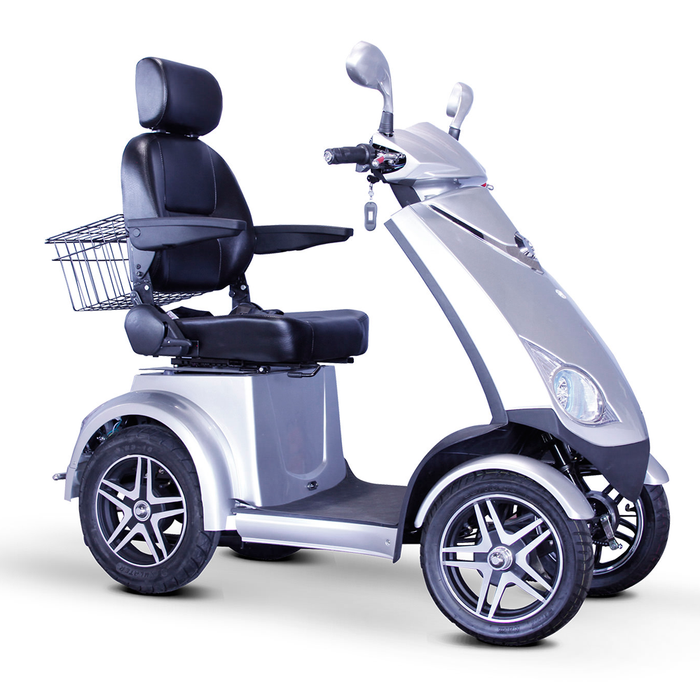 EWheels EW 72 4-wheel recreational scooter silver right angle view