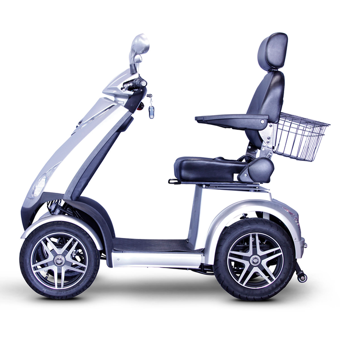EWheels EW 72 4-wheel recreational scooter silver left side view