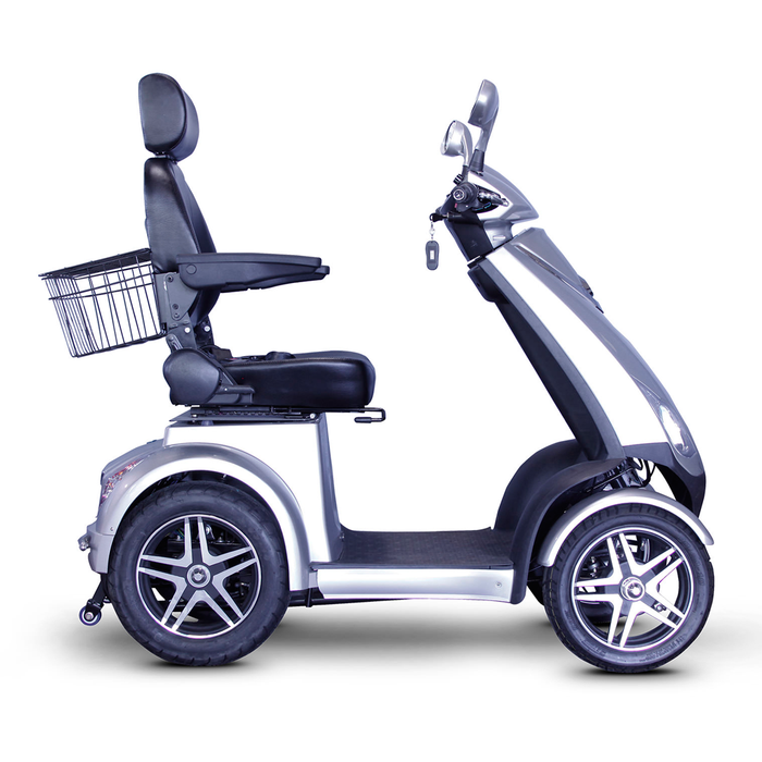 EWheels EW 72 4-wheel recreational scooter silver right side view