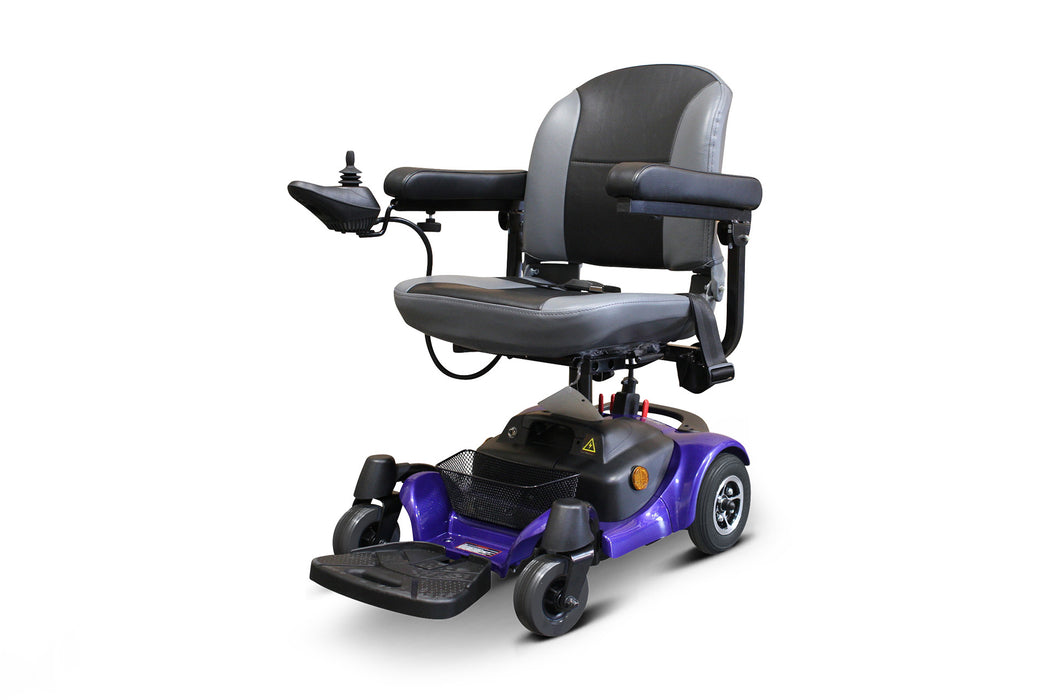 EWheels M81 4-Wheel Power Chair blue left angle view