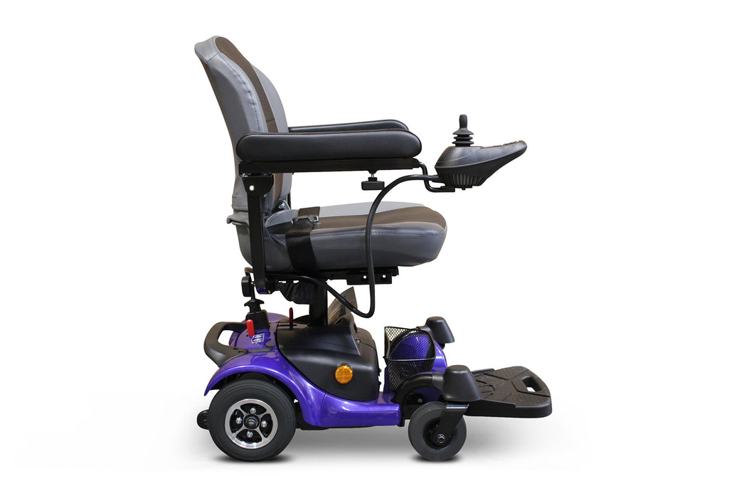 EWheels M81 4-Wheel Power Chair blue right side view