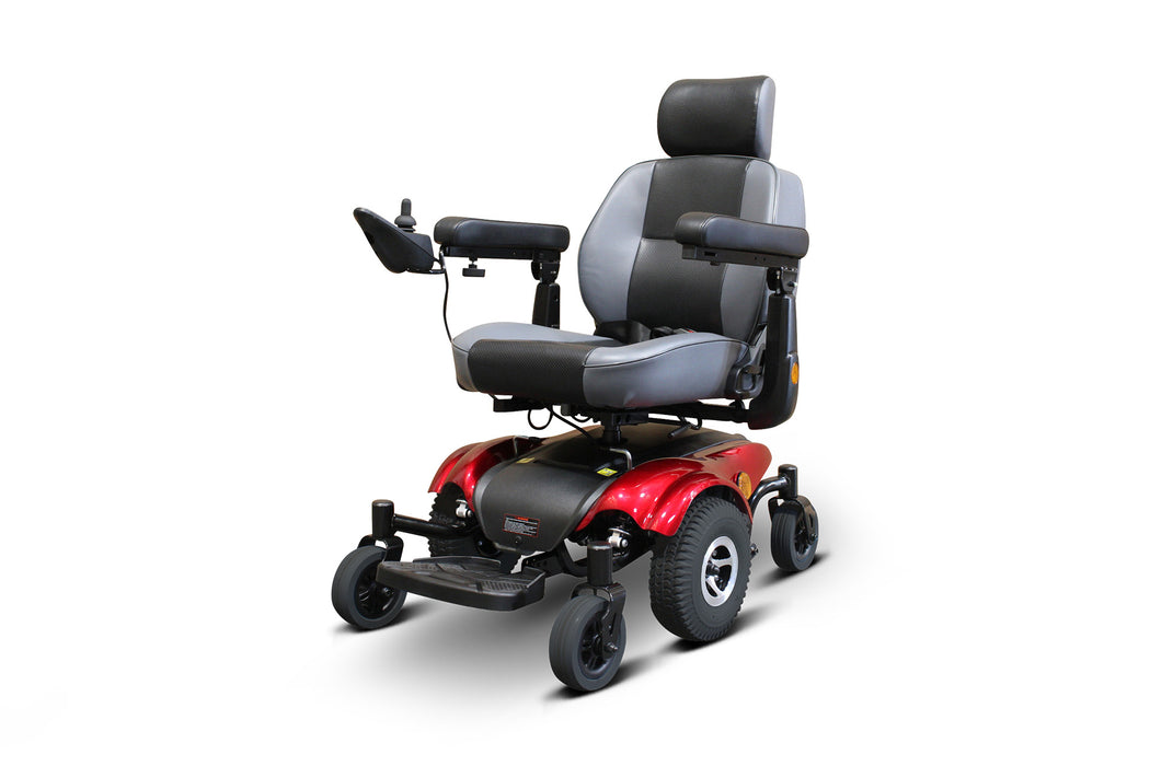 EWheels EW M82 Mid-Wheel Drive Power Chair Red left angle view