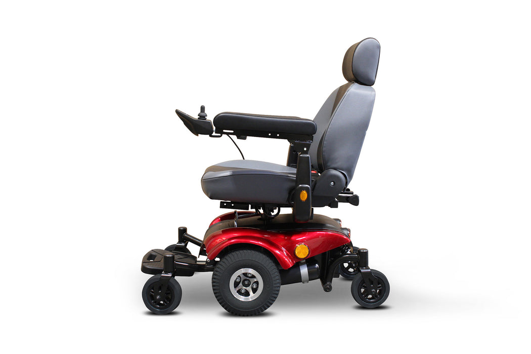 EWheels EW M82 Mid-Wheel Drive Power Chair Red left side view