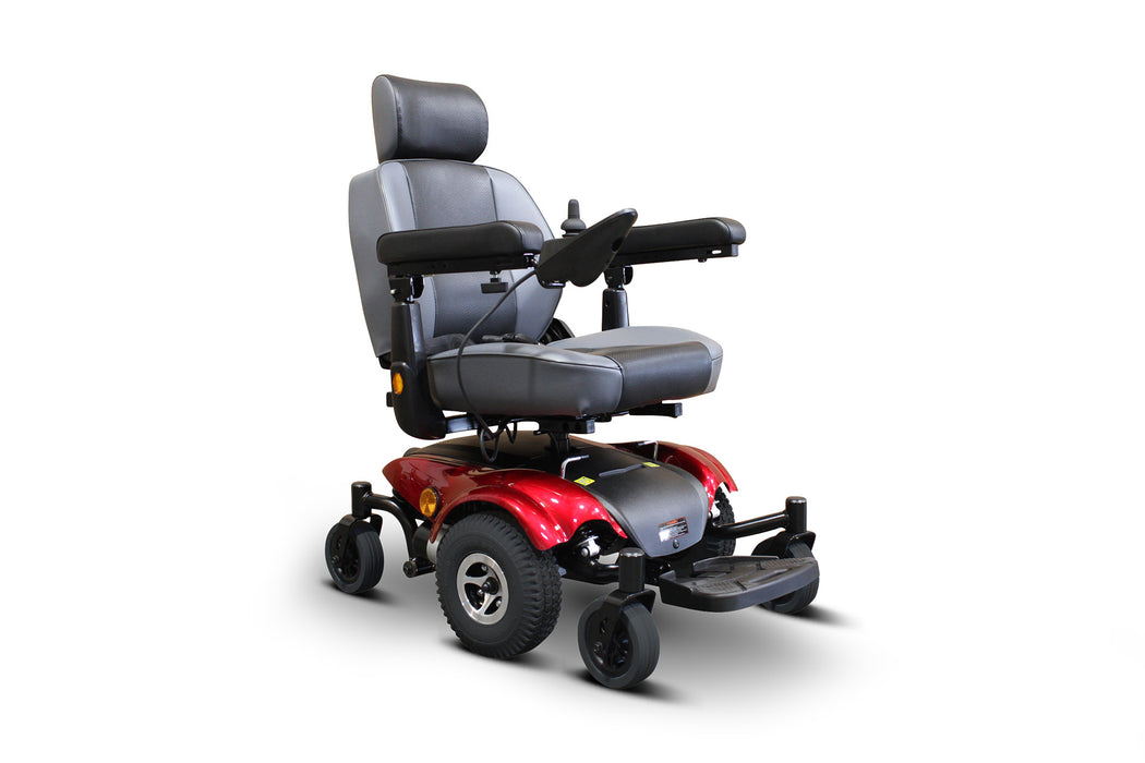 EWheels EW M82 Mid-Wheel Drive Power Chair Red right angle view