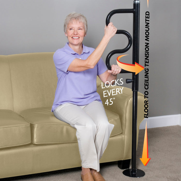 Sitting elderly woman grabbing onto the black Stander Security Pole & Curve Grab Bar