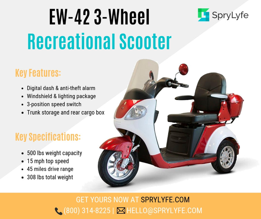EWheels EW 42 3-Wheel Retro-Style Recreational Scooter with windshield brochure