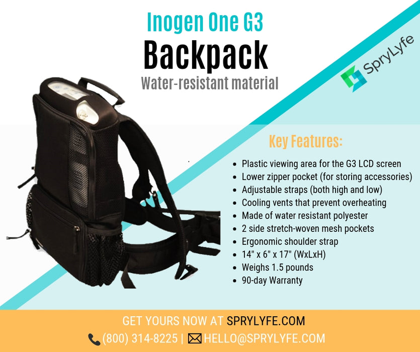 Inogen One G3 backpack list of key features