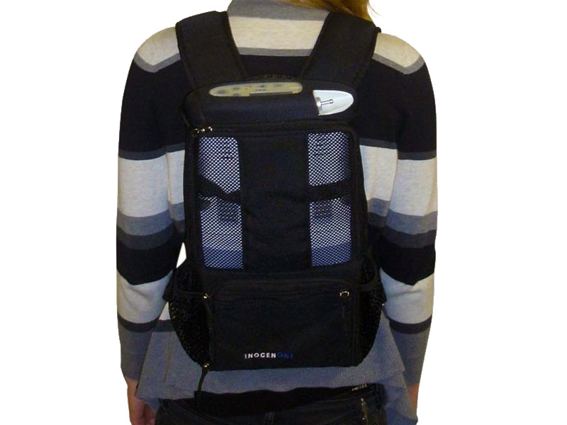 Inogen One G3 backpack worn by a model