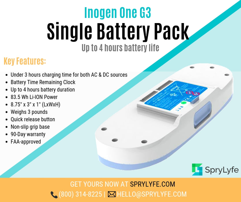 Inogen One G3 single battery pack list of features