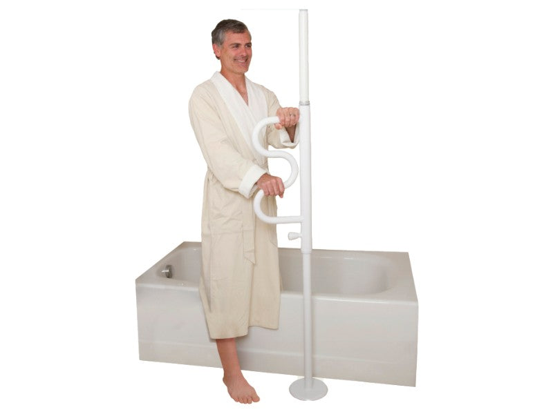 Standing man in bathrobe holding onto the white Stander Security Pole & Curve Grab Bar