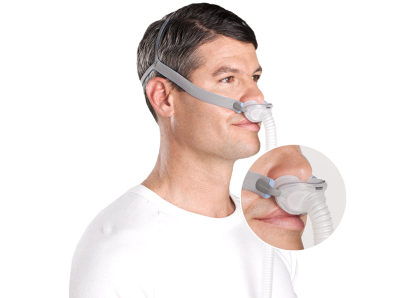 Man wearing the ResMed AirFit™ P10 Nasal Pillows CPAP Mask