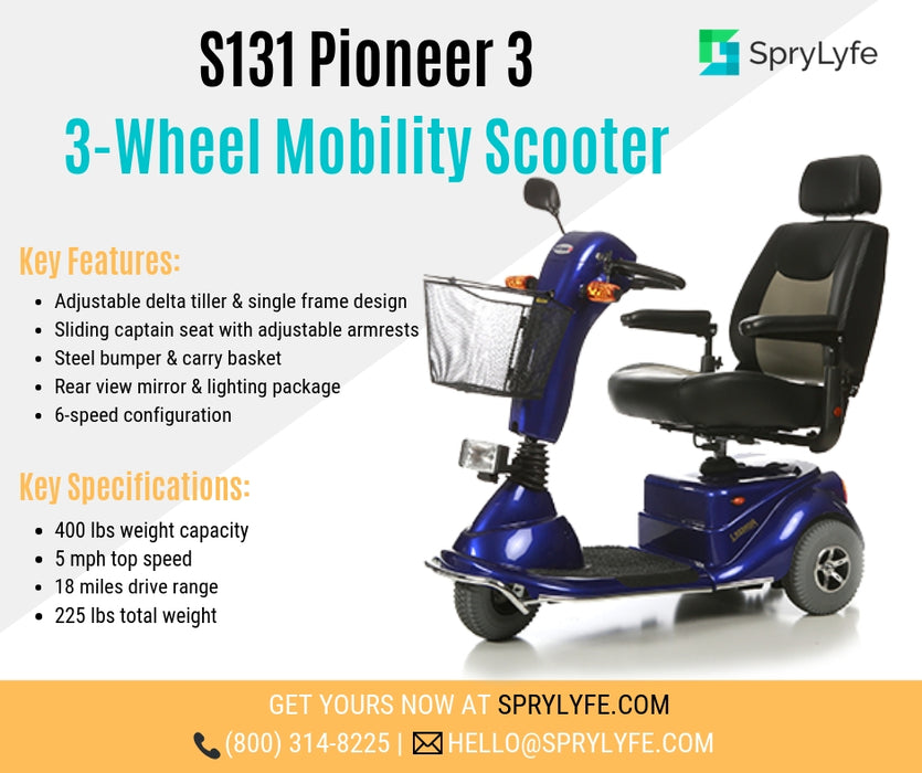 Merits Health S131 Pioneer 3 3-Wheel Mobility Scooter brochure