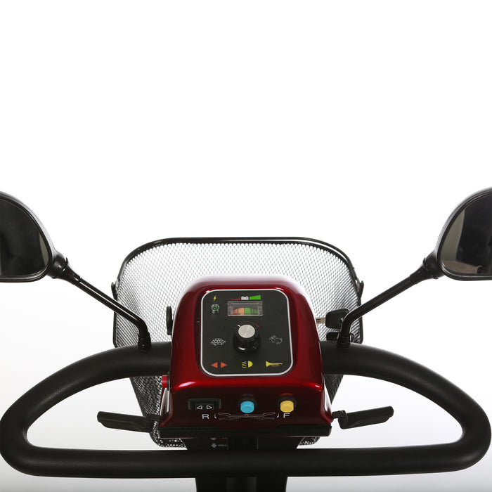 Merits Health S131 Pioneer 3 3-Wheel Mobility Scooter control panel and delta tiller top view