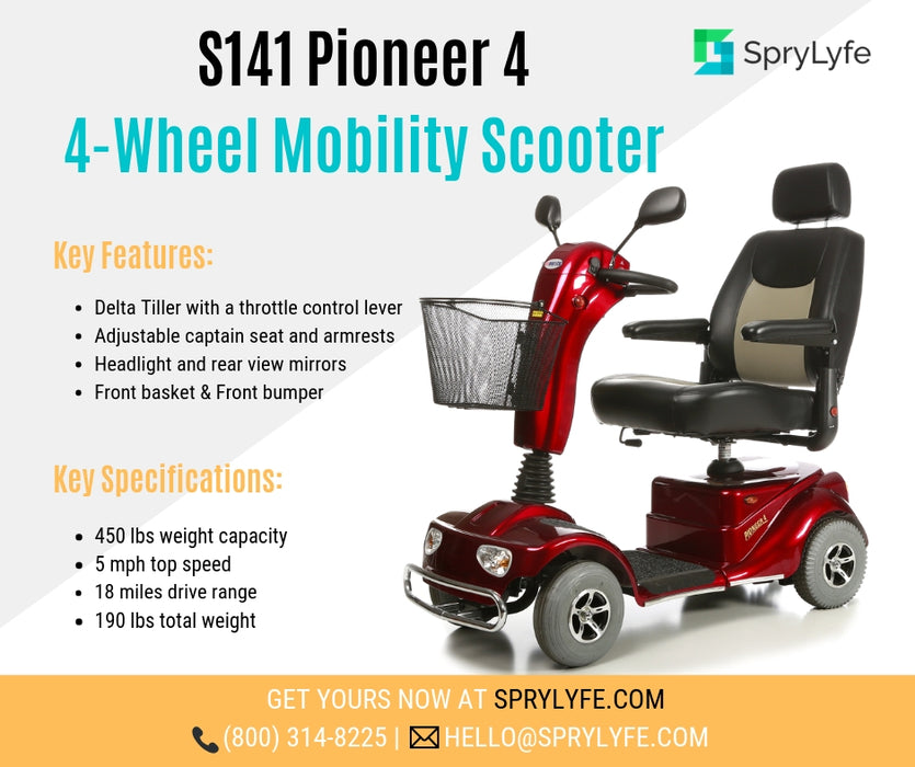 Merits Health S141 Pioneer 4 4-Wheel Mobility Scooter brochure