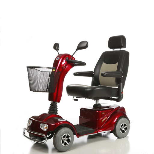 Merits Health S141 Pioneer 4 4-Wheel Mobility Scooter red left angle view