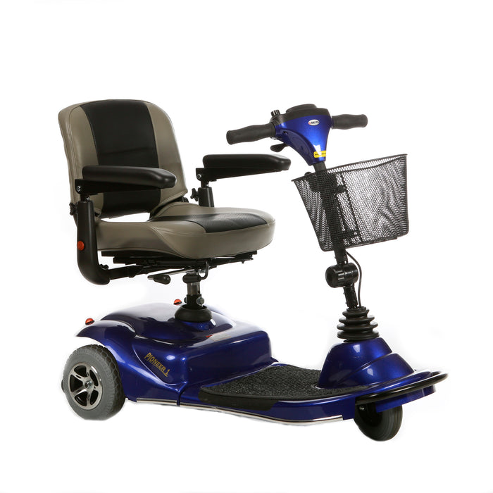 Merits Health S235 Pioneer 1 3-Wheel Mobility Scooter blue right angle view