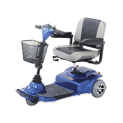 Merits Health S235 Pioneer 1 3-Wheel Mobility Scooter blue left angle view