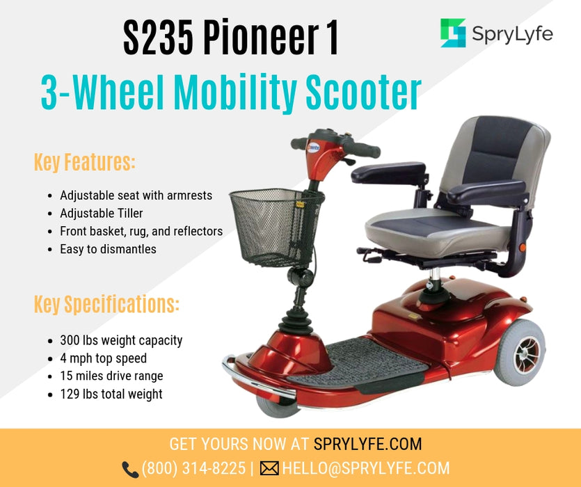 Merits Health S235 Pioneer 1 3-Wheel Mobility Scooter brochure