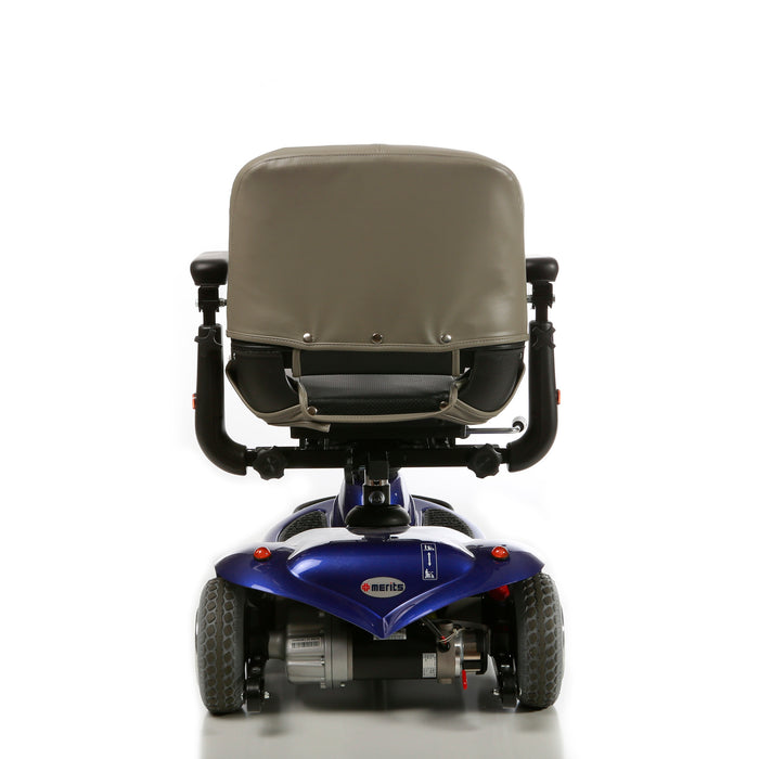 Merits Health S235 Pioneer 1 3-Wheel Mobility Scooter blue rear view
