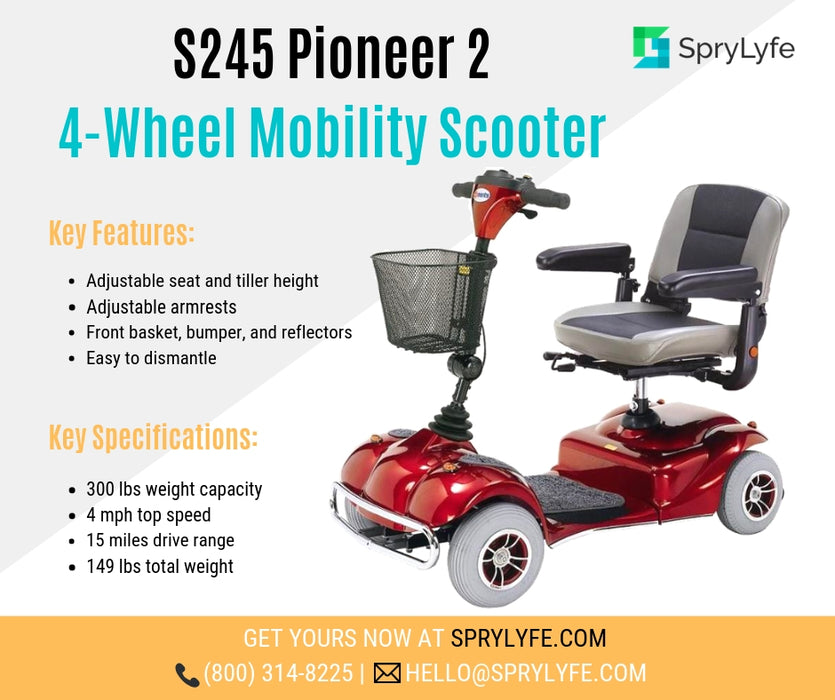 Merits Health S245 Pioneer 2 4-Wheel Travel Scooter brochure