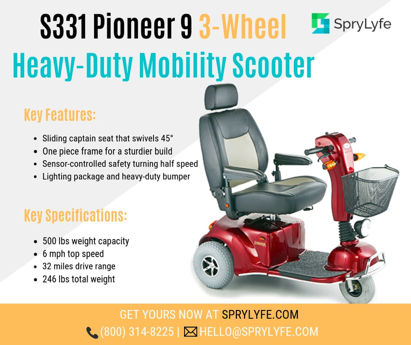 Merits Health S331 Pioneer 9 3-Wheel Heavy-Duty Scooter brochure