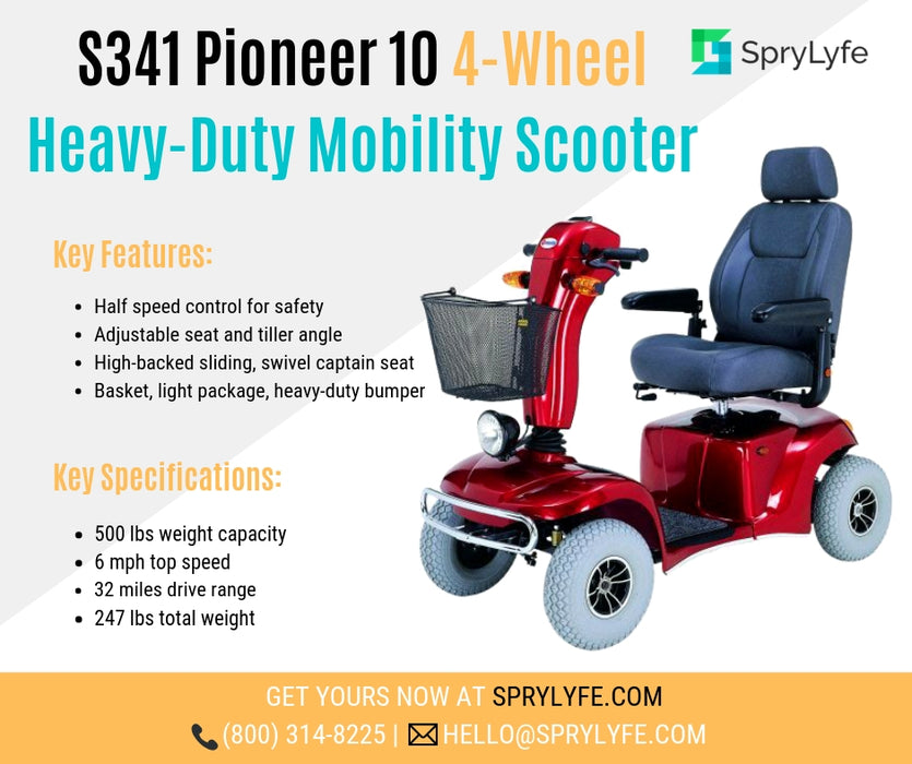 Merits Health S341 Pioneer 10 Heavy-Duty Mobility Scooter brochure