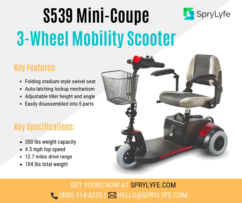 Merits Health S539 Mini-Coupe 3-Wheel Mobility Scooter brochure