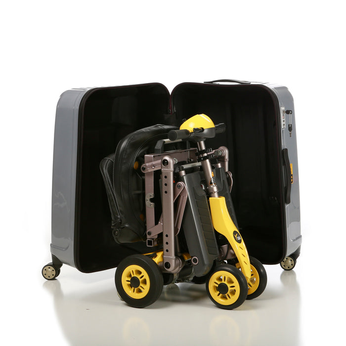 Merits Health S542 Yoga Folding 4-Wheel Mobility Scooter inside a luggage