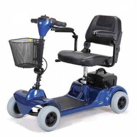 Merits Health S549 Mini-Coupe 4-Wheel Mobility Scooter blue left angle view