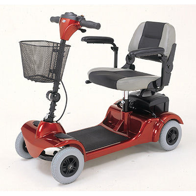 Merits Health S549 Mini-Coupe 4-Wheel Mobility Scooter red left angle view