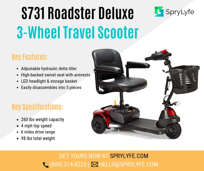 Merits Health S731 Roadster Deluxe 3-wheel travel scooter brochure
