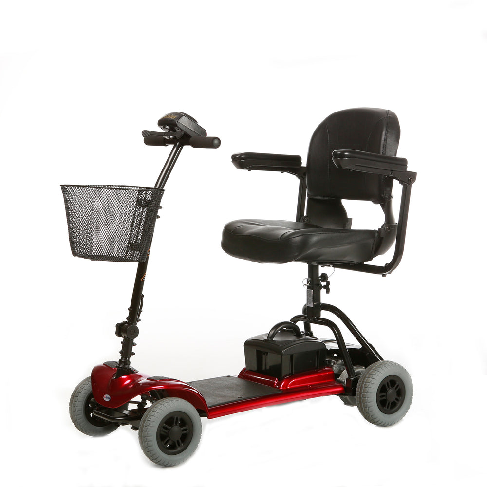 Merits Health S740 Roadster Mini 3-Wheel Travel Scooter red left angle view