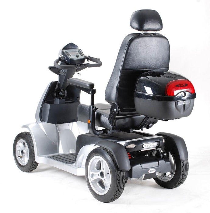 Merits Health S941L Silverado Extreme 4-Wheel Full Suspension Electric Scooter silver left rear view