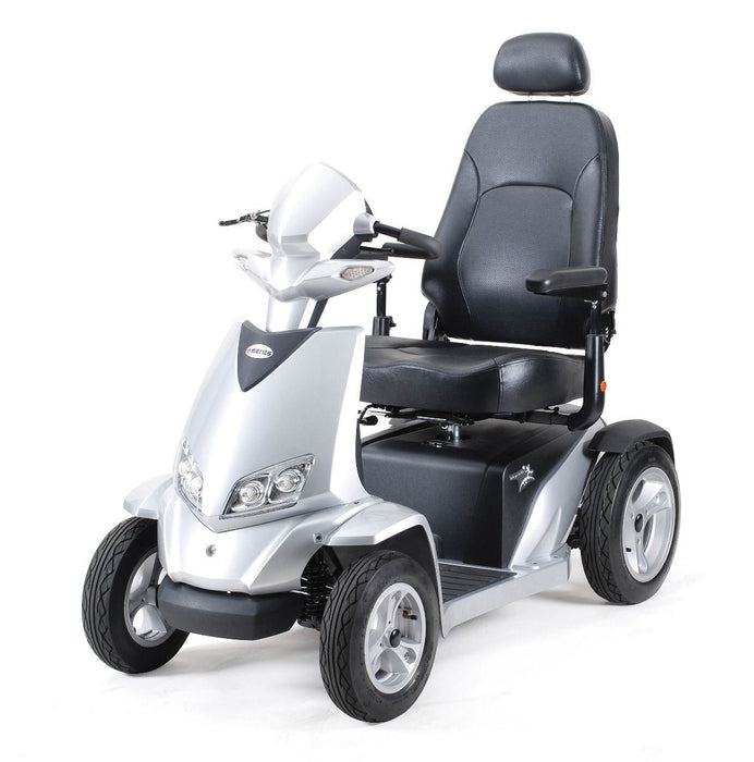 Merits Health S941L Silverado Extreme 4-Wheel Full Suspension Electric Scooter silver left angle view